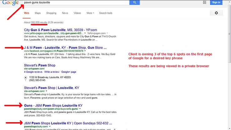 SEO case studies Screenshot Pawn 4